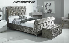 ROYALE SLEIGH BED FRAME CRUSHED VELVET FABRIC CHESTERFIELD UPHOLSTERED UK MADE