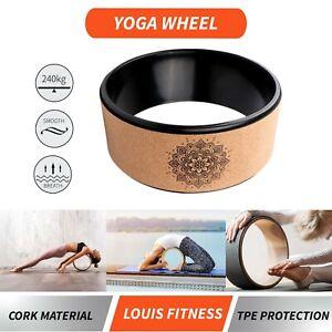 Cork Yoga Wheel Pilates Circle Prop Back Chest Hips Abdomen Stretch Roller