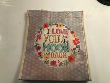 "Natural Life recycled plastic bag.9.25""H x8""W Medium Gift  Bag  LOVE YOU TO MOON"