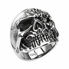 Biker Rocker Ring Totenkopf mit 2 Gesichter Edelstahl Massiv Herren Fingerring