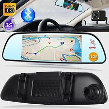 "7"" 1080P HD Dual Lens Car DVR GPS Rearview Mirror Video Camera Dash Cam Wifi UK"