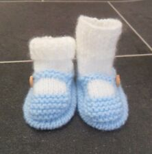 NEW - HAND KNITTED BABY BOOTEES - SOCK AND SHOE STYLE -  BLUE - 0-3 MONTHS