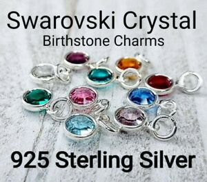 Swarovski Crystal Birthstone Charm Birthday Gift Charms for Bracelet or Necklace