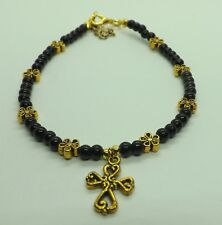 Black Onyx Gemstone Beads Gold Flowers and Cross Charm Anklet Ankle Bracelet