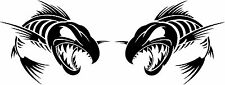 """2 mirrored 12"""" x 9"""" skeleton fish decals boat truck fishing outdoors 4j"""