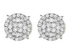 Ladies 10K Yellow Gold Real Diamond Pave Diamond Round Stud Earrings 0.77ct 9MM