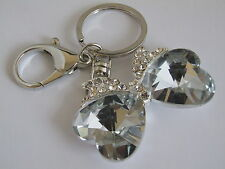HANDBAG BUCKLE CHARMS CLEAR CRYSTAL SET WOMENS HEART BOW TIE KEYRINGS KEY CHAIN