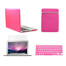 """4 in1 Rubberized HOT PINK Case for Macbook PRO 13"""" + Key Cover +LCD Screen+ Bag"""