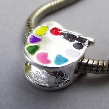 Art Palette w/ Paint Brush European Bead For Charm Bracelets - Gift For Artists