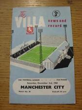 03/12/1960 Aston Villa v Manchester City  (Light Crease, Fold). Item In very goo
