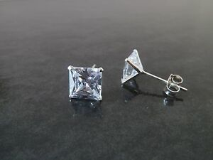 925 Sterling Silver CZ Cubic Zirconia Square Stud Earrings 3mm,4mm,5mm,6mm,7mm
