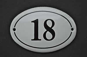 ANTIQUE STYLE SMALL OVAL NUMBER 18 DOOR NUMBER PLAQUE SIGN ENAMEL ON METAL