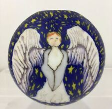 Vtg 60s 70s Angels in Night Sky Round Candle Handmade Stone Candles Berkeley Ca