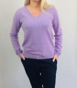 100% Cashmere Jumper Lavender Vast Land Soft Warm Cosy Present Size 12 -14