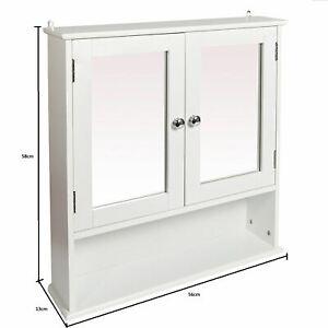 DOUBLE MIRROR DOOR BATHROOM WOODEN CABINET INDOOR WALL MOUNTABLE BATHROOM SHELF