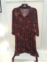 Autumn Joe Browns Maroon Floral Print 3/4 length Sleeve Shirt Dress 18 LEOPL