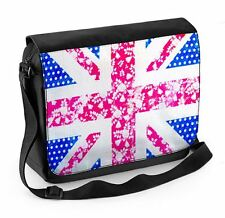 Floral Union Jack Laptop Messenger Bag - Flowers Great Britain UK