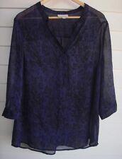 Autograph Women's Sheer Purple & Black Blouse Top  - Size 14