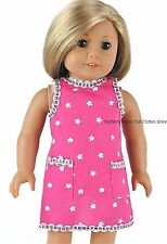 Pink Flower  Silver Trim Pocket Apron 18 in Doll Clothes Fits American Girl