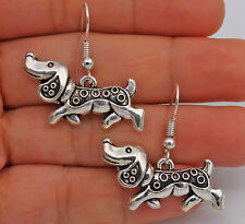 925 Silver Plated Hook - 1 Pair Dogs Dachshund Retro Pageant Women Earrings #61