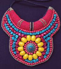 TIBETAN Beaded Bib Collar Necklace, turquoise coral, boho, gypsy, tribal, ethnic