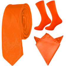 Mens Tie Sock Pocket Square Set Orange Blue Pink Green Neon Handkerchief wedding