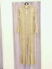 Women's 70's  Disco Diva Natural Snake Jumpsuit and Hat Large (334)