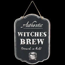 AUTHENTIC WITCHES BREW WOODEN WALL PLAQUE. CHALKBOARD EFFECT. HALLOWEEN. WITCH.