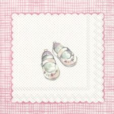 4 Single paper decoupage napkins. New baby girl, baby shoes, cute design-567