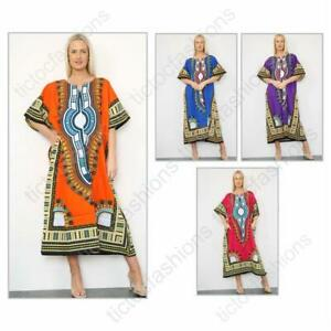 Ladies Long African Kaftan Dashiki Print Pockets Summer Dress 100% Cotton