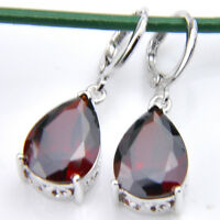 Natural Gemstone Red Fire Garnet 925 Sterling Silver Plated Dangle Hook Earrings