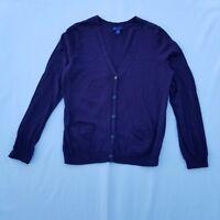GAP Women's Sweater Size Large Cotton Blend Purple Cardigan 2 Pockets