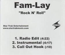 Fam-Lay: Rock N' Roll PROMO MUSIC AUDIO CD Radio Edit Instrumental Star Trak 3tk