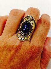Nemesis Antique Vintage Dark Genuine Smoky Topaz Brass Ring