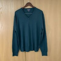 Brooks Brothers Mens Pull Over Sweater V-neck Saxxon Wool Size XL Green