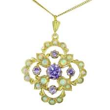 Delightful Faux Opal And Synthetic Amethyst Pendant