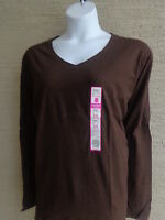 NWT WOMENS JUST MY SIZE ESSENTIALS  L/S  JERSEY KNIT V NECK TEE TOP BROWN 5X
