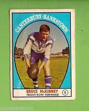 #D3. 1968 Ser. 1  RUGBY  LEAGUE  CARD  #5  BRUCE  McKINNEY, CANTERBURY  BERRIES