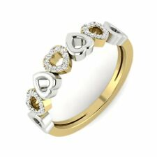 14Carat Solid Yellow Gold Diamond Love Band Two Tone Anniversary Band Ring