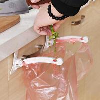 2Pc Plastic Cabinet Door Hook Hanger Storage Rack Foldable Disposable Bag Holder