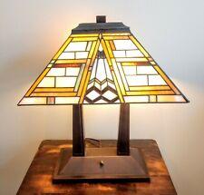 Meyda Tiffany Glass Style Mission Oblong Desk Table Lamp Double Light