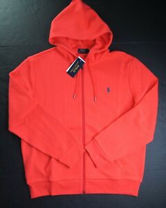 POLO RALPH LAUREN Men's Bright Red Double Knit Full Zip Hoodie NEW NWT