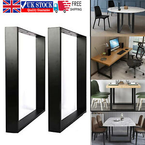 2X Industrial Black Metal Table Legs Steel Furniture Stand for Bench/Coffee Desk