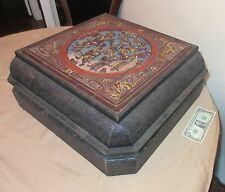 HUGE vintage hand carved wood figural woven bamboo Chinese coffee table box