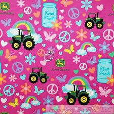 BonEful Fabric FQ Cotton Quilt Pink Green Rainbow John Deere Girl Farm L Tractor