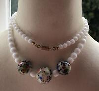 1980s Millefiori Glass Necklace White Vintage Jewellery Jewelry Retro Beaded Old