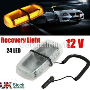 UK 12V Amber 24 LED Vehicle Roof Lightbar Flashing Beacon Strobe Light Magnetic