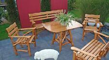 Ensemble salon de jardin table fauteuil banquette bois grand modèle chêne fon...