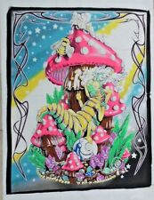 "Alice in Wonderland Cloth Wall Hanging Caterpillar Hippie Mushroom 22"" x 28"""