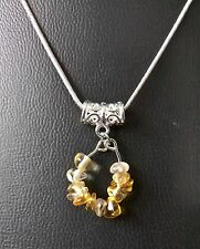 "SCORPIO CITRINE ZODIAC PENDANT ON 16"", 18"", 20"" SILVER PLATED CHAIN"